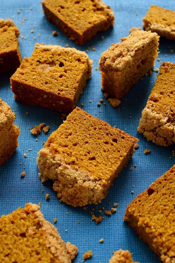 soft pumpkin and spice coffee cake with a streusel topping