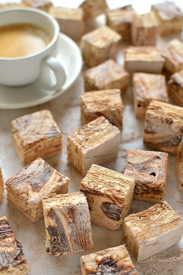 Mocha marshmallows - pillowy soft homemade marshmallows flavoured with espresso coffee and rippled with dark chocolate