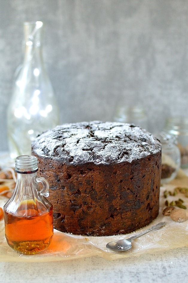 Rich Christmas fruitcake packed full of rum soaked fruit. Make in advance and feed regularly with rum, whiskey, brandy or sherry