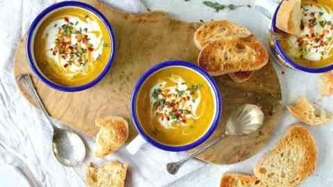Spiced Red Lentil And Root Vegetable Soup (Vegan)