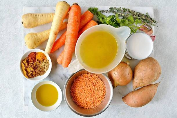 vegan spiced red lentil and root vegetable soup ingredients