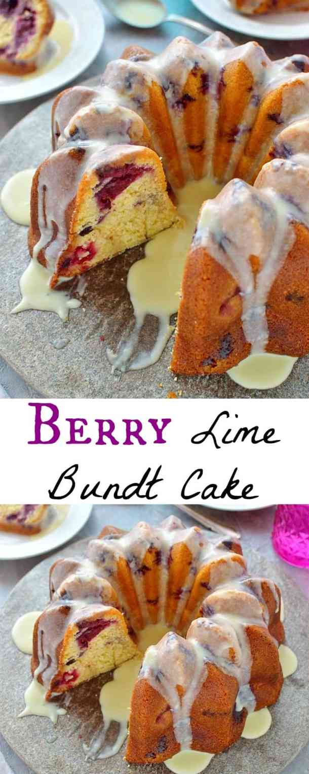 Berry lime bundt cake - a moist, buttery cake with a hint of lime and plenty of tangy berries; topped with a white chocolate lime ganache.