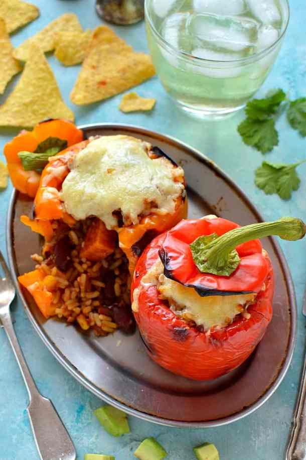 veggie chilli stuffed peppers