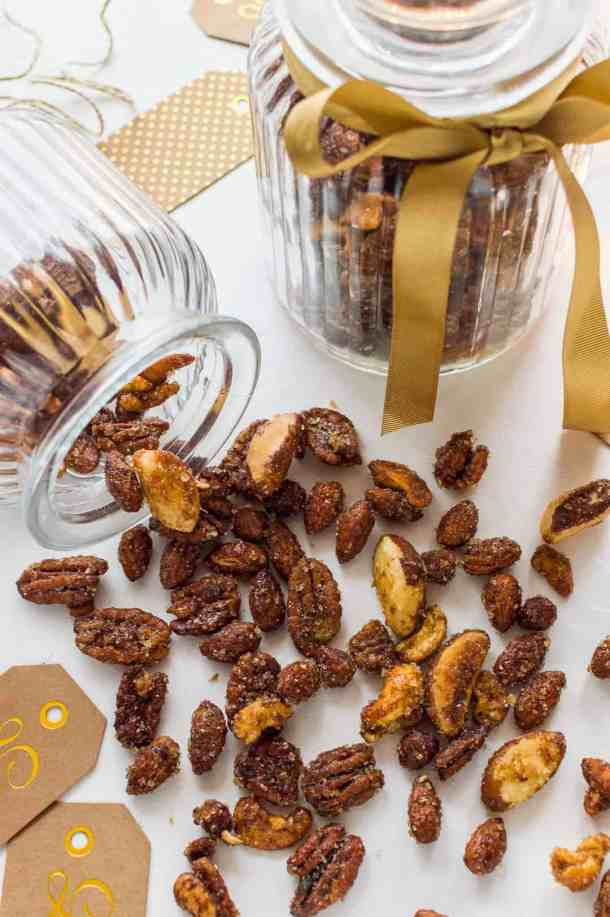 Spiced honey roasted nuts - sweet, spicy, salty and utterly addictive! They are great to snack on and would make a lovely home-made Christmas gift.