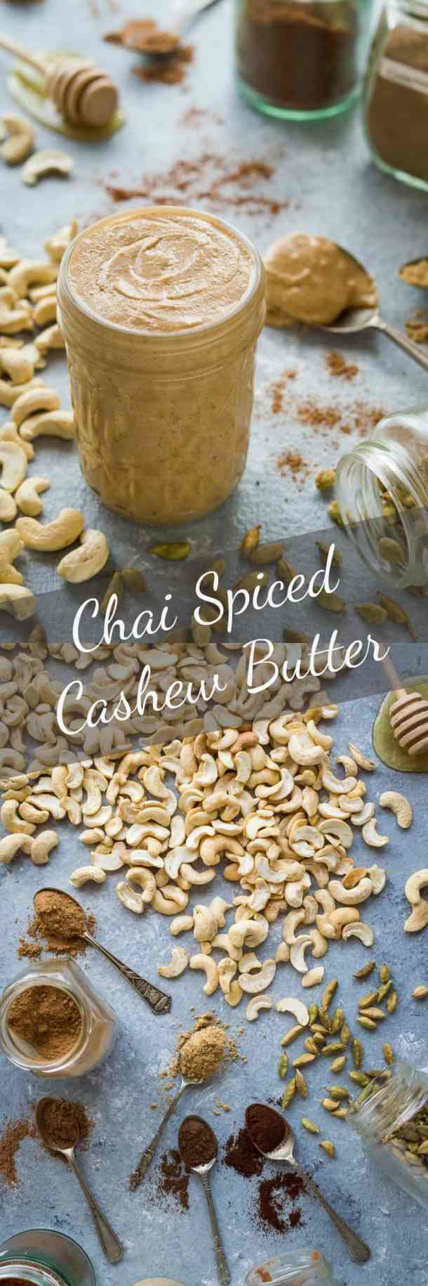 Chai spiced cashew nut butter - smooth, creamy, lightly spiced and utterly addictive! #vegan #healthy