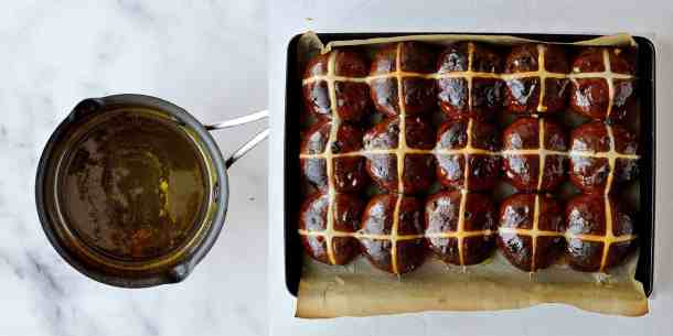 chocolate orange hot cross buns step 7