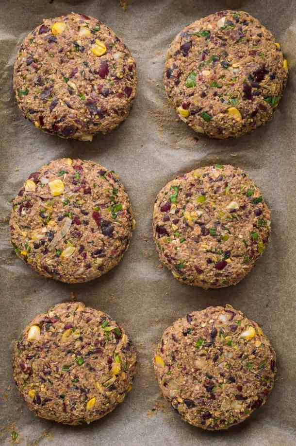 Uncooked vegan mexican black and kidney bean burger patties