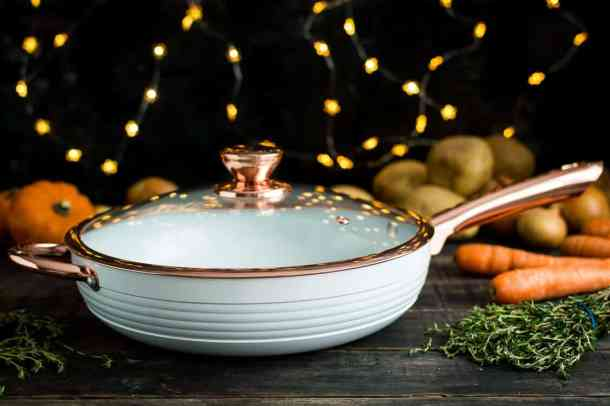 Tower white and rose gold saute pan.
