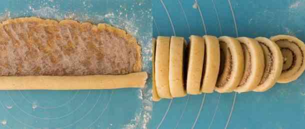 cinnamon swirl cookies step 3 - slicing the cookies