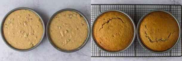 maple pecan cake step 2 - baking the cakes