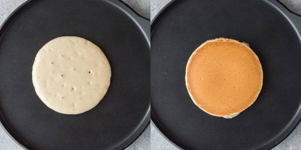 fluffy vegan vanilla pancakes step 2 - cooking the pancakes