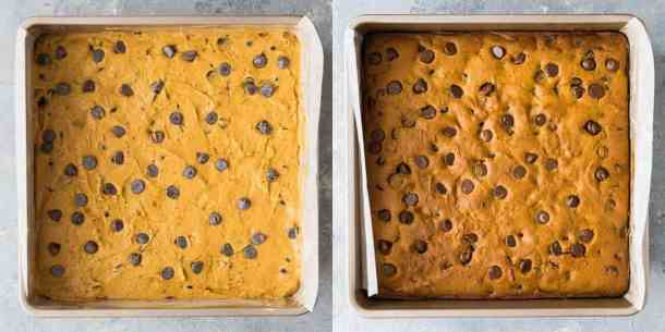 pumpkin chocolate chip bars step 6 - baking the cake