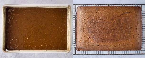 vegan ginger cake step 2 - baking the cake