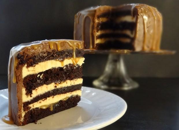 salted caramel chocolate layer cake