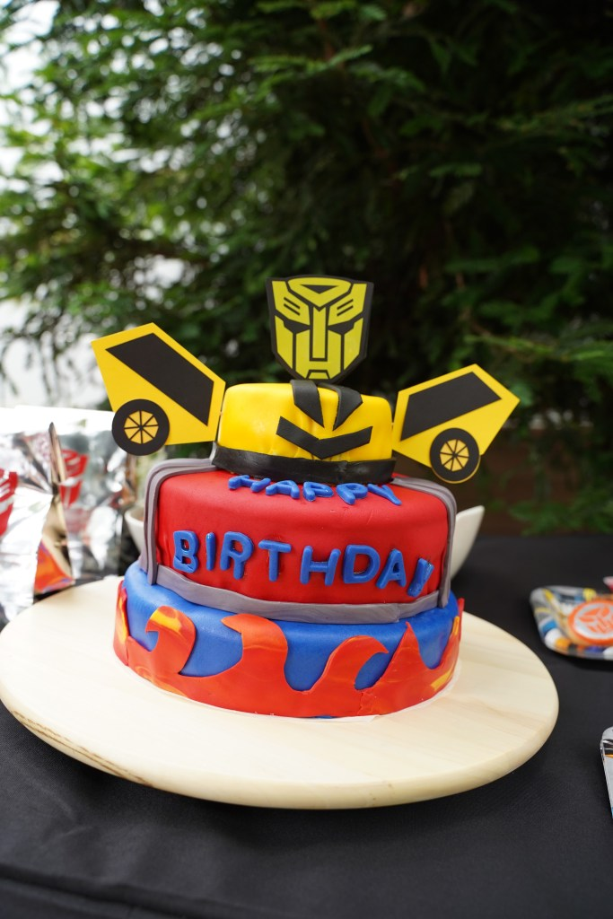 robot boy birthday party cake