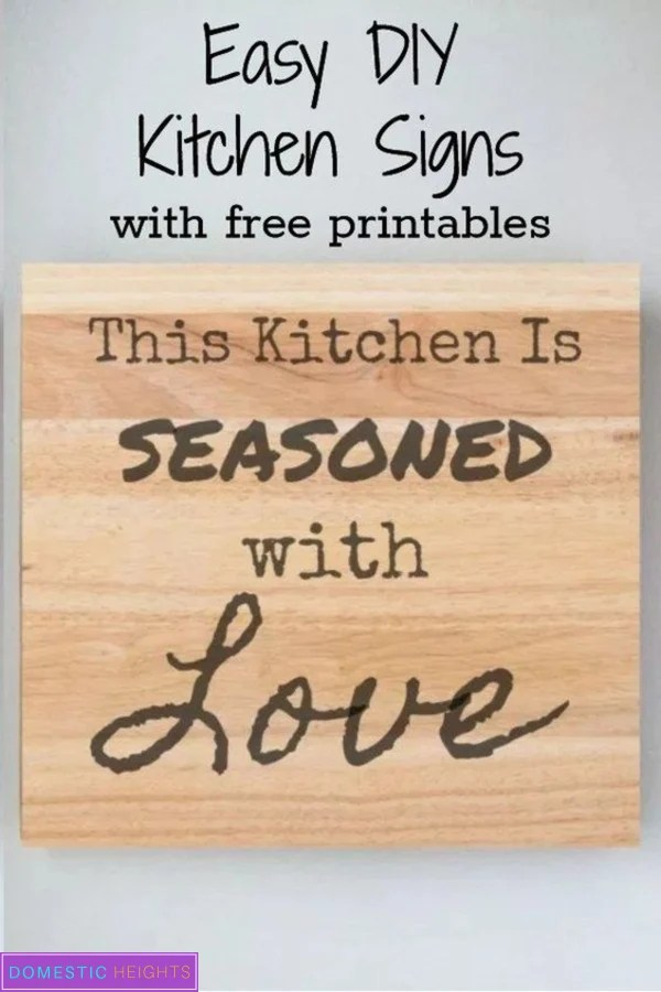 DIY kitchen signs with free printable and svg files