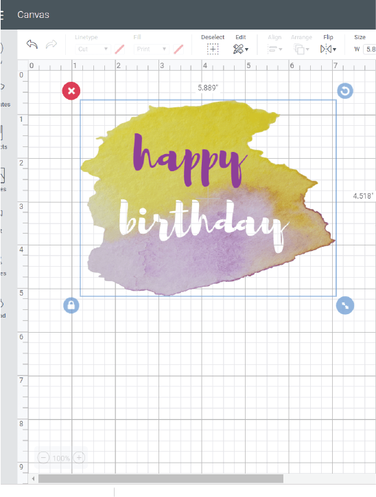 watercolor happy birthday cricut card