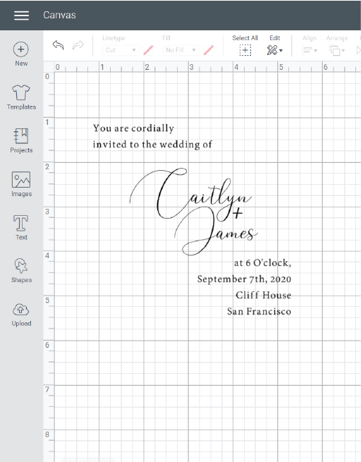 cricut wedding invitation template