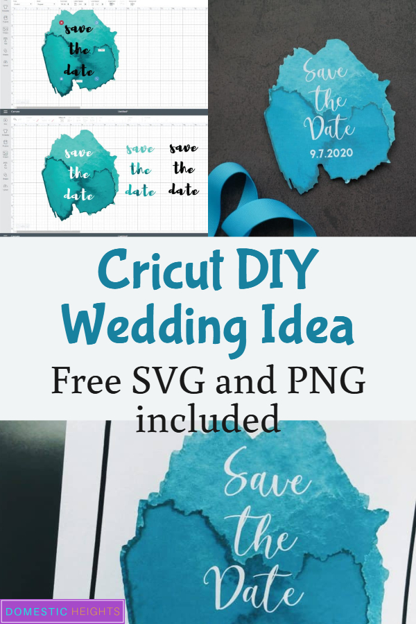 DIY wedding cricut project idea, free wedding svg, diy save the date template