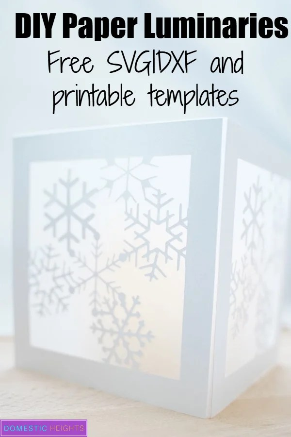 christmas paper luminary, free svg and printable template, papercraft ideas, holiday crafts and DIY