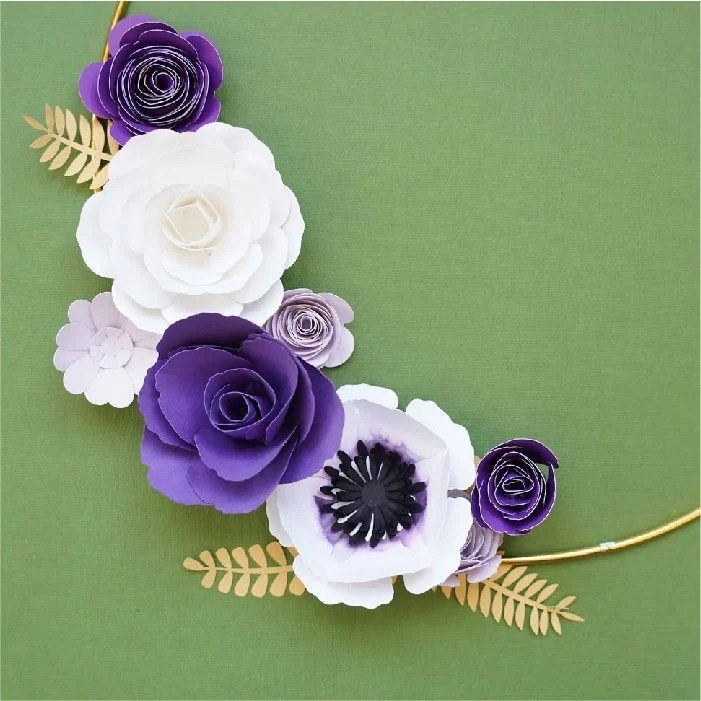 Purple green white bouquet
