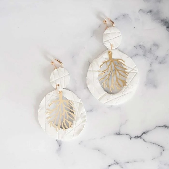 Coral clay earrings
