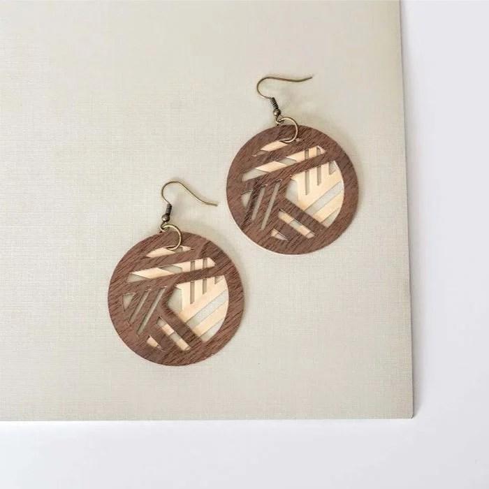 Overlapping geo wood earrings