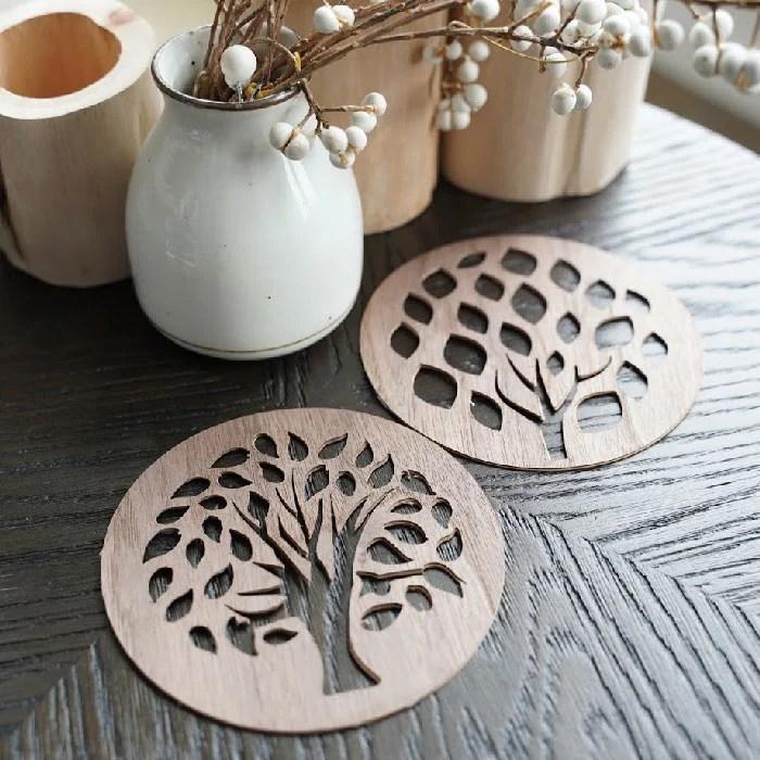 wood veneer coasters