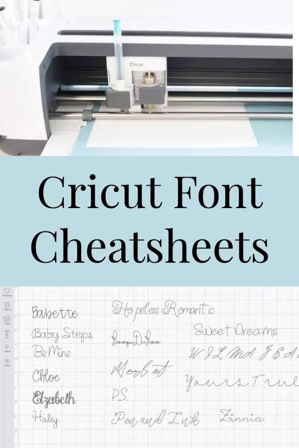 cricut font cheat sheet