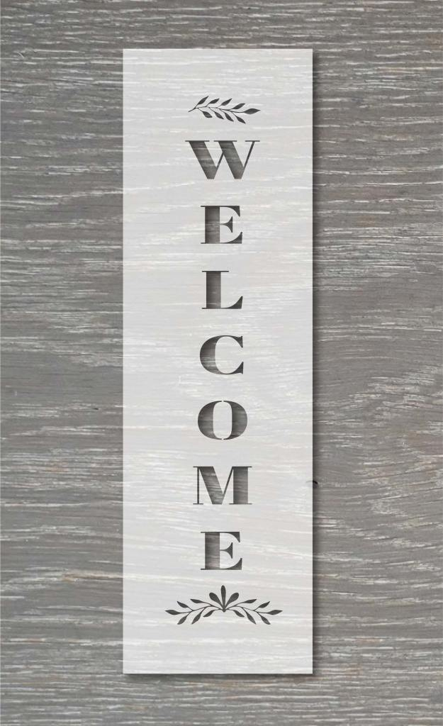 vertical welcome stencil template