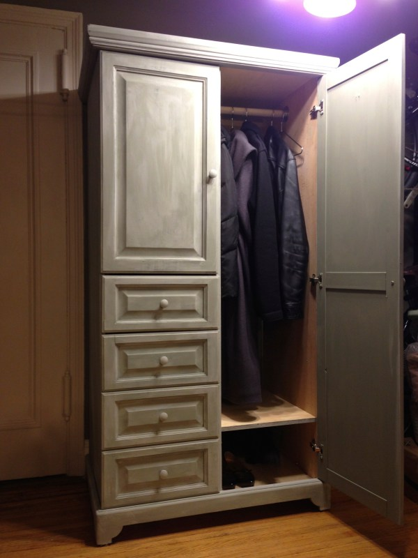 Homemade Chalk Paint Ugly Thrift Store Armoire Shabby Chic Coat Closet Domesticmonkey