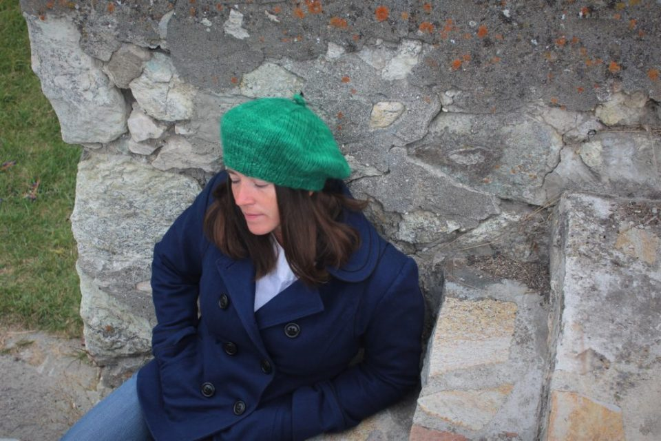 Madeleine Roberg wearing finished lopi green Not Another Bulky Beret.