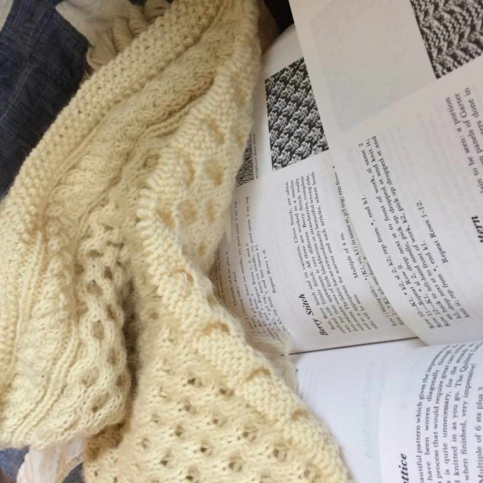 Planning a knitting project.