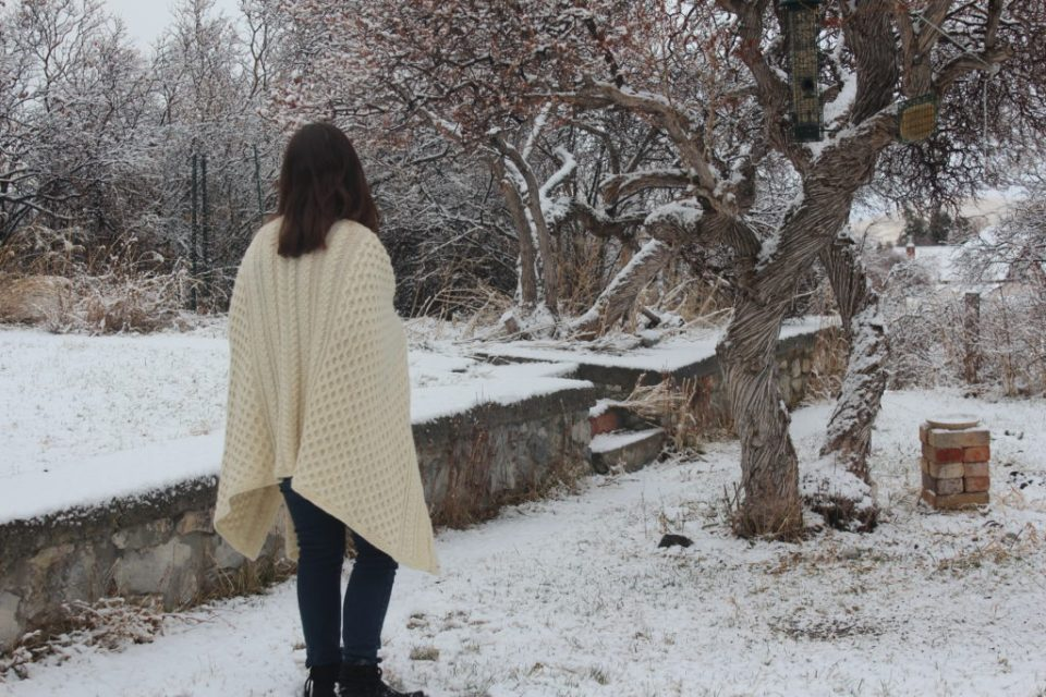 Madeleine Roberg wearing Cable Knit WORKET shawl.
