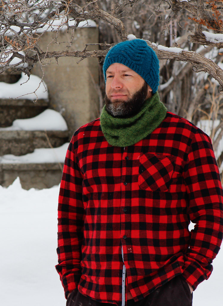 52 Skeins - Jason wearing cowl made from Free Knitting Olivia Cowl Pattern.