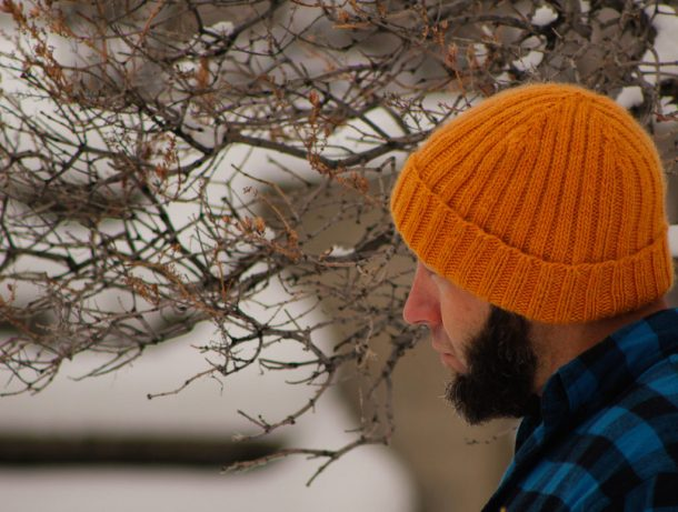 f1e44c6a80f0e ... Jason Garber wearing hand knit Two-By-Two free knitting pattern hat for  men