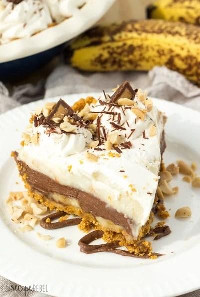 No Bake Reese Peanut Butter Chocolate Banana Cream Pie by The Recipe Rebel