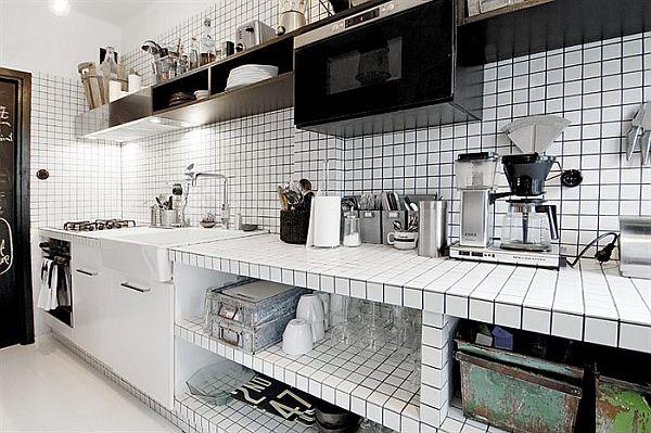 Biała mozaika w kuchni