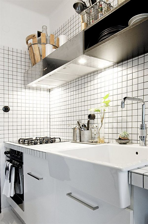 czarno białe mieszkanie w stylu industrialnym