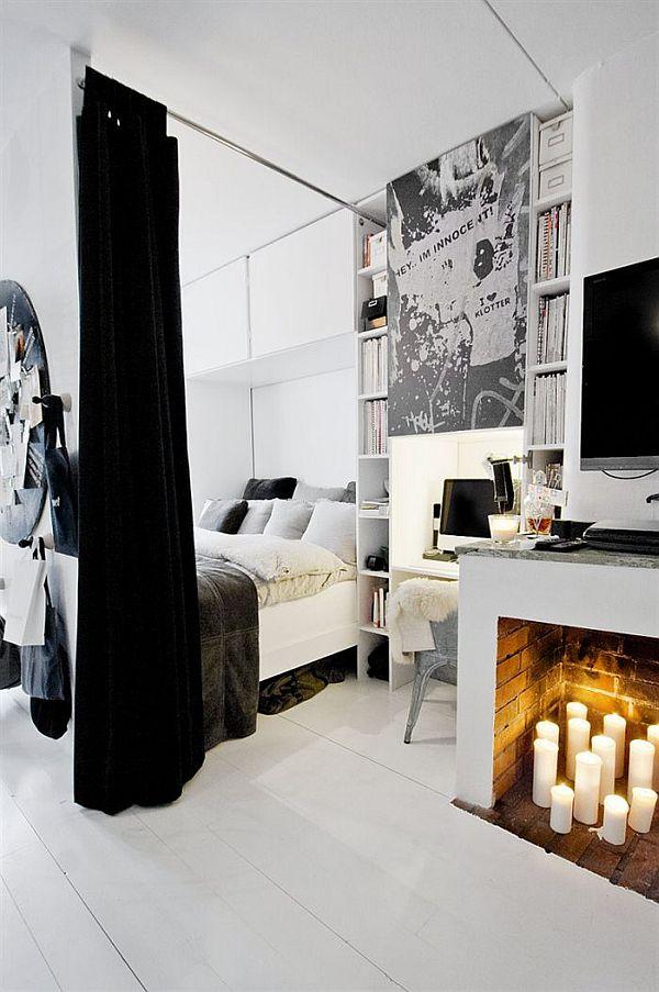 Sypialnia w czarno białym mieszkaniu