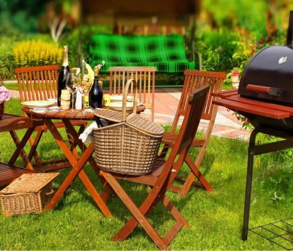 ogród, grill, piknik, stolik, krzesła ogrodowe