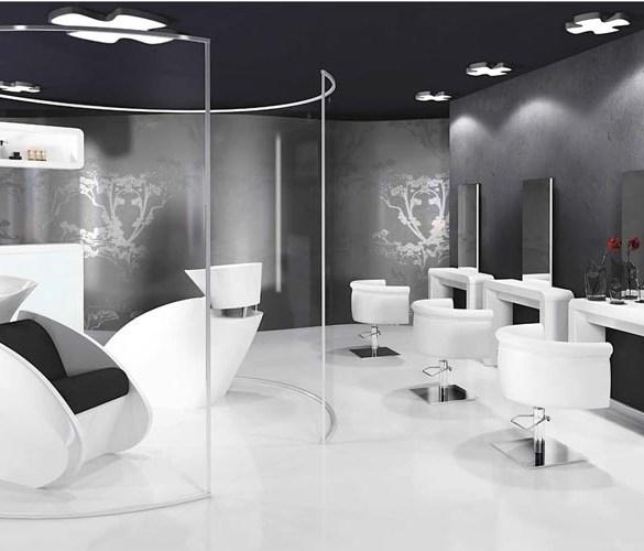 salon fryzjerski, czarno biały salon fryzjerski