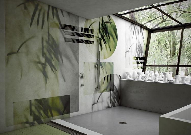 fototapeta roślinna w łazience
