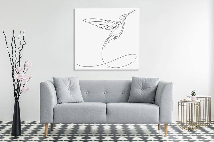 obraz z kolibrem namalowanym jedną kreską