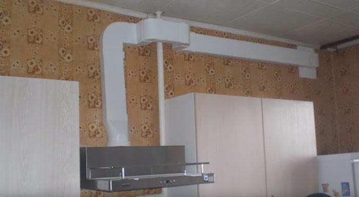 A légcsatorna a gázcső kapucniságából