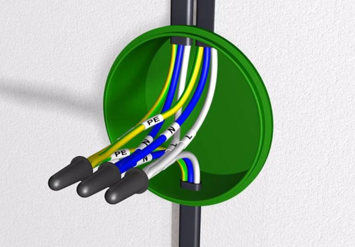 Csatlakozó vezetékek a rajz csatlakoztatásához a konyhában a villamos energiához