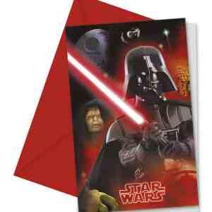 6 invitations et enveloppes star Wars