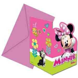 6 invitations et enveloppes Minnie