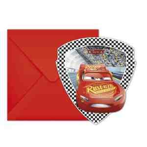 6 invitations et enveloppes Cars