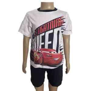 Pyjama court Cars blanc